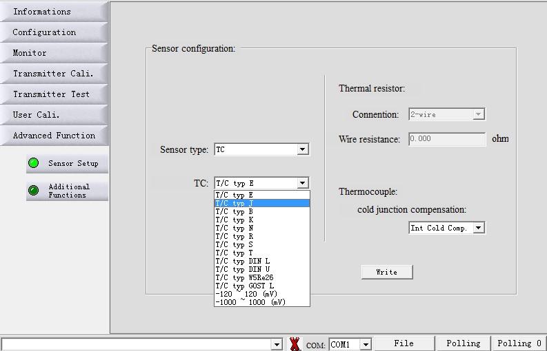 Alteração do Tipo de Sensor F500T