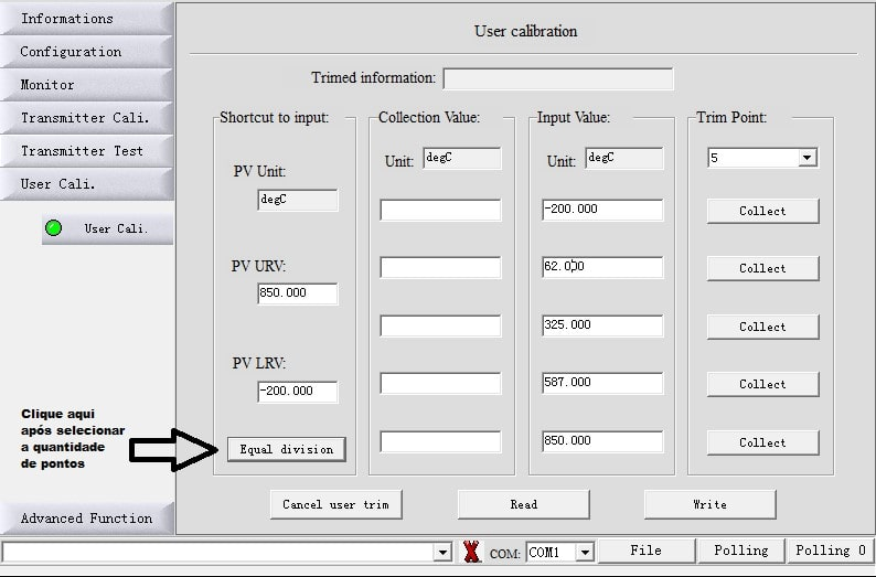 Calibração Até 5 Pontos F500-TTR