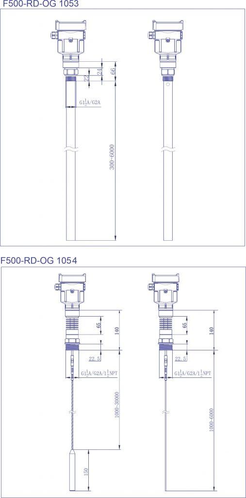 F500-RD Onda Guiada Dimensões