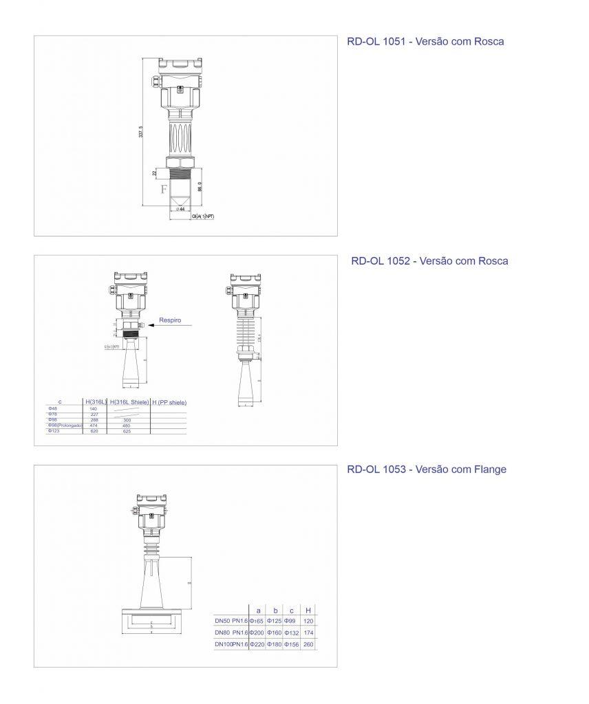 F500-RD Onda Livre Dimensões