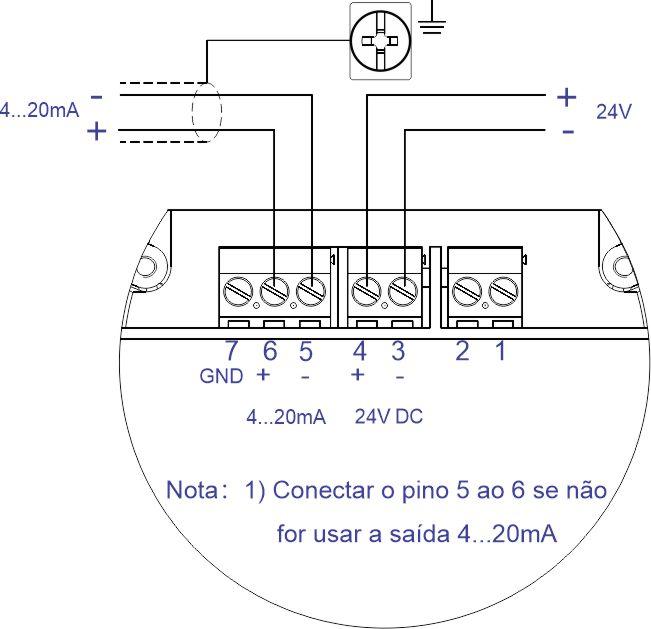 Esquema de Ligação a 4 Fios 24Vcc F500-ULT