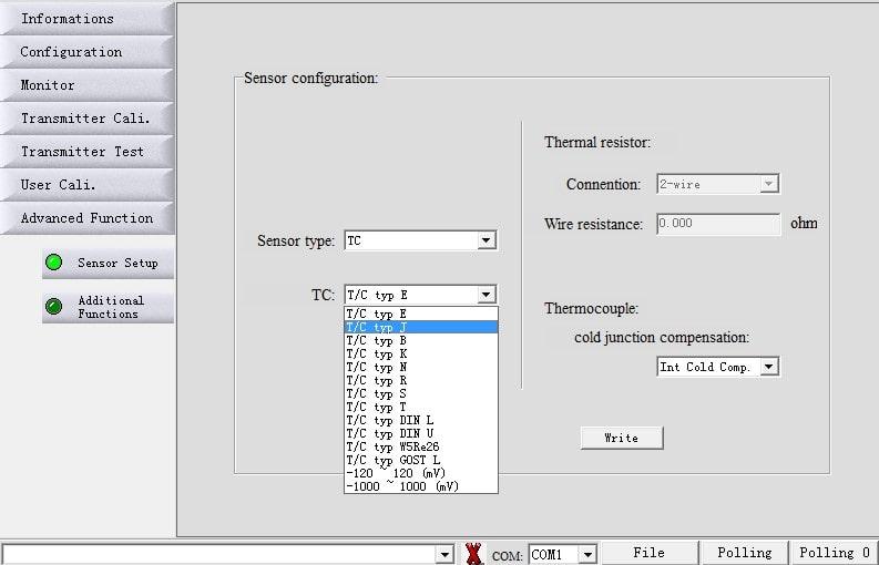 Alteração do Tipo de Sensor e Quantidade de Fios F500-TTR